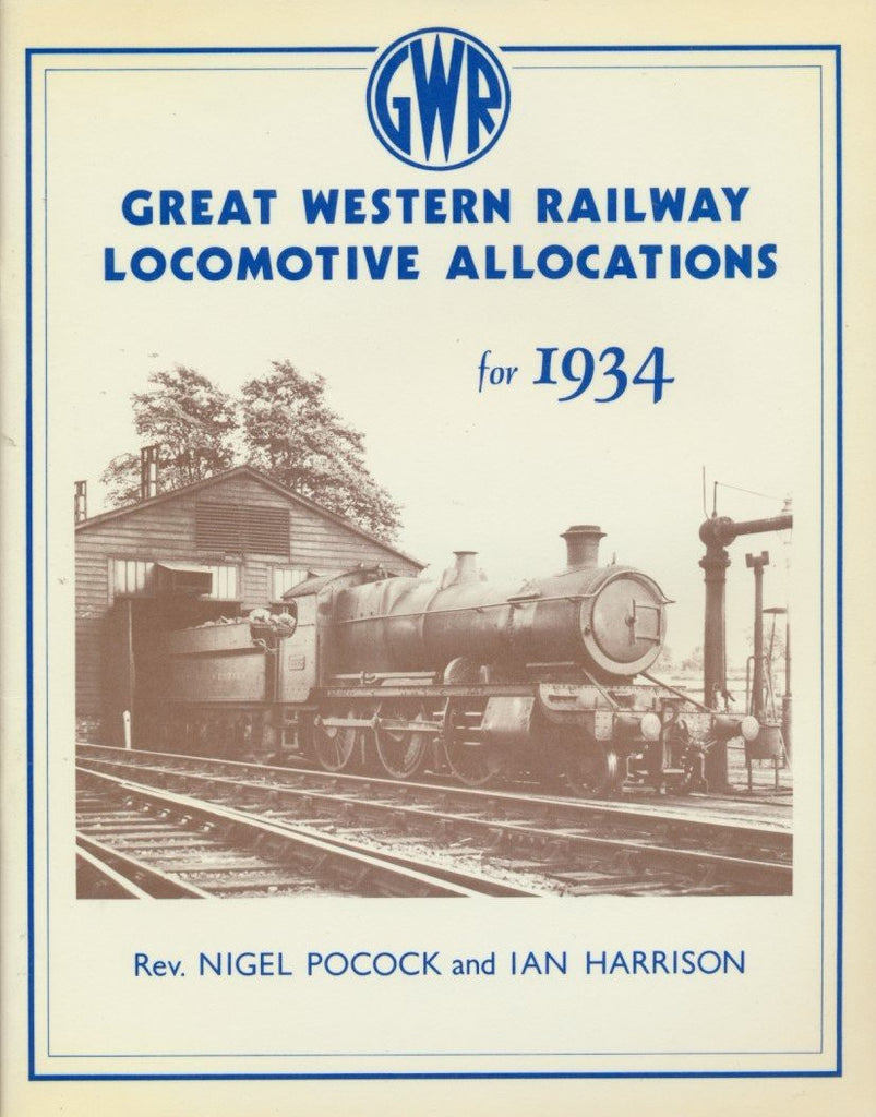 Great Western Railway Locomotive Allocations for 1934