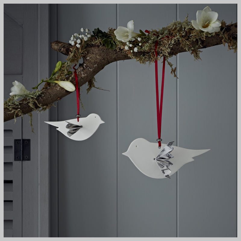 Bird with paper wings hanging decoration