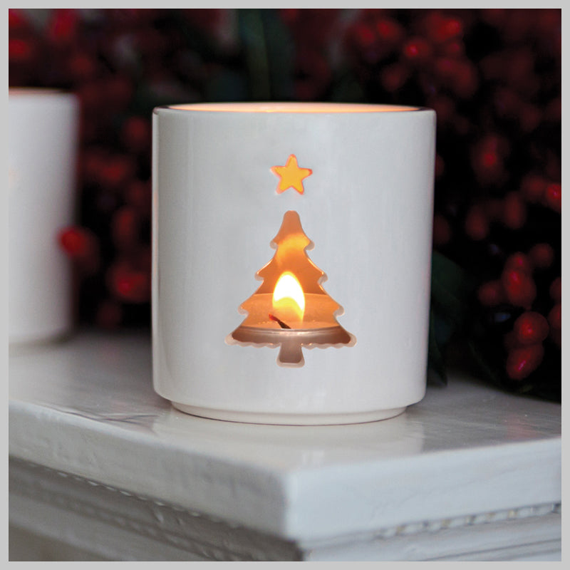 Hollow Christmas Tree Motif Tea Light Holder