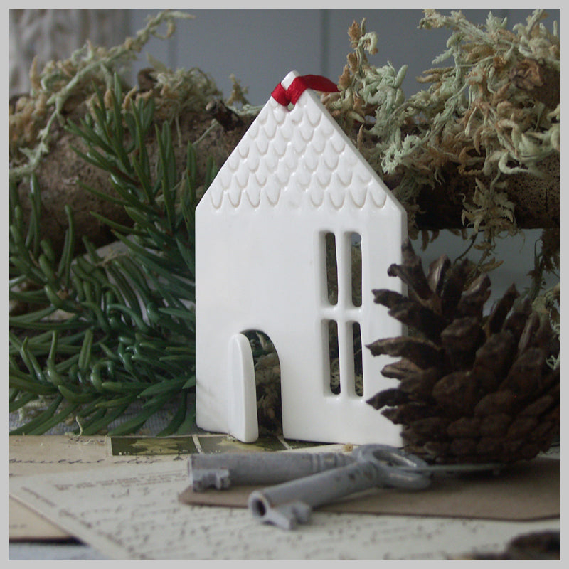 White Barn - Ceramic Hanging Decoration