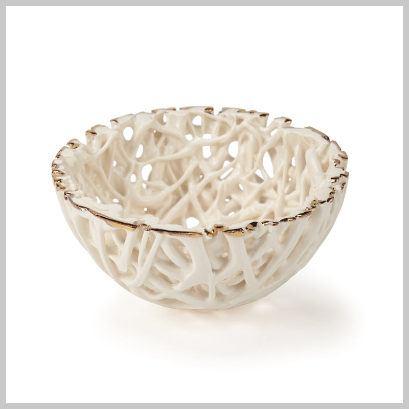 Tangled Web Mini Decorative Bowl with Gold Lustre detailing