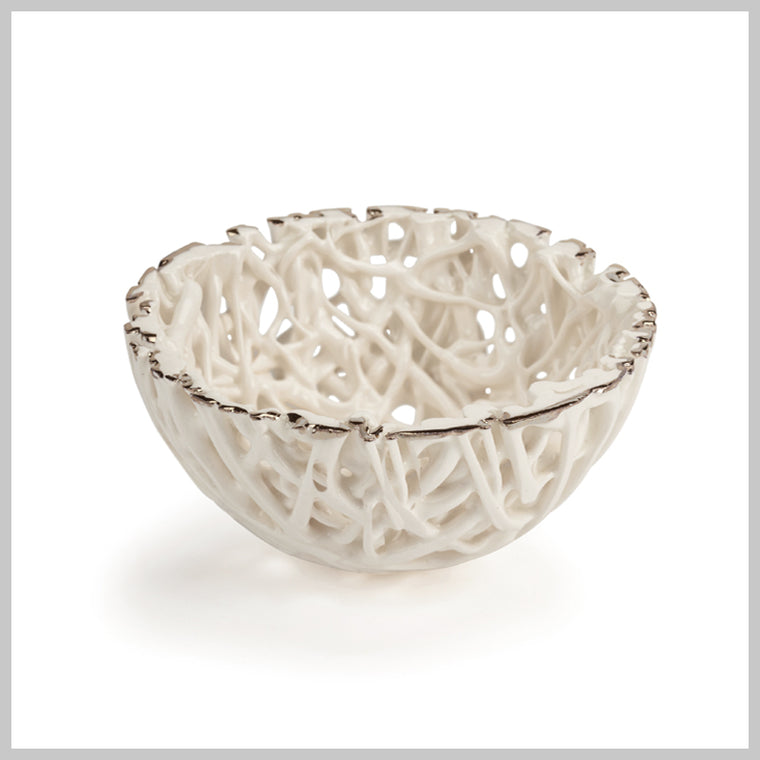 Tangled Web Mini Decorative Bowl with Platinum Lustre detailing