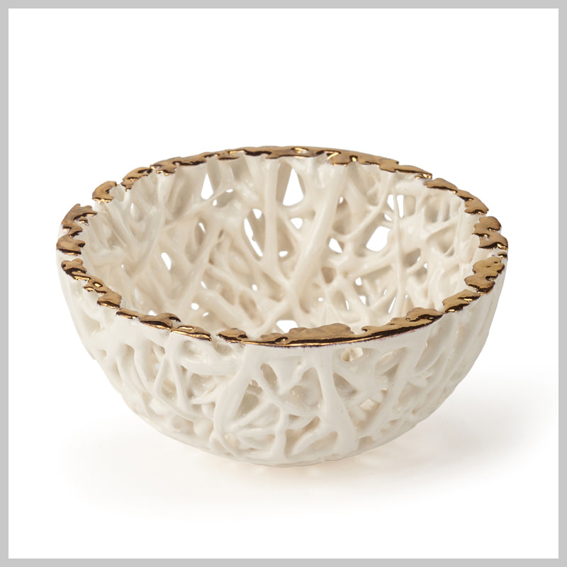 Tangled Web Small Decorative Bowl with Gold Lustre detailing