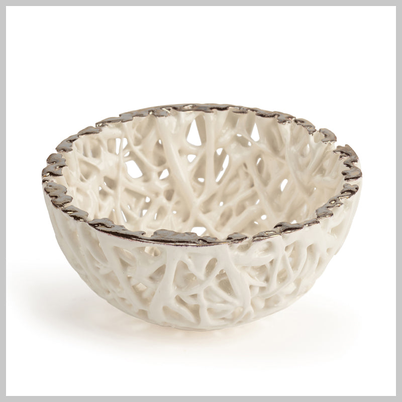 Tangled Web Small Decorative Bowl with Platinum Lustre detailing