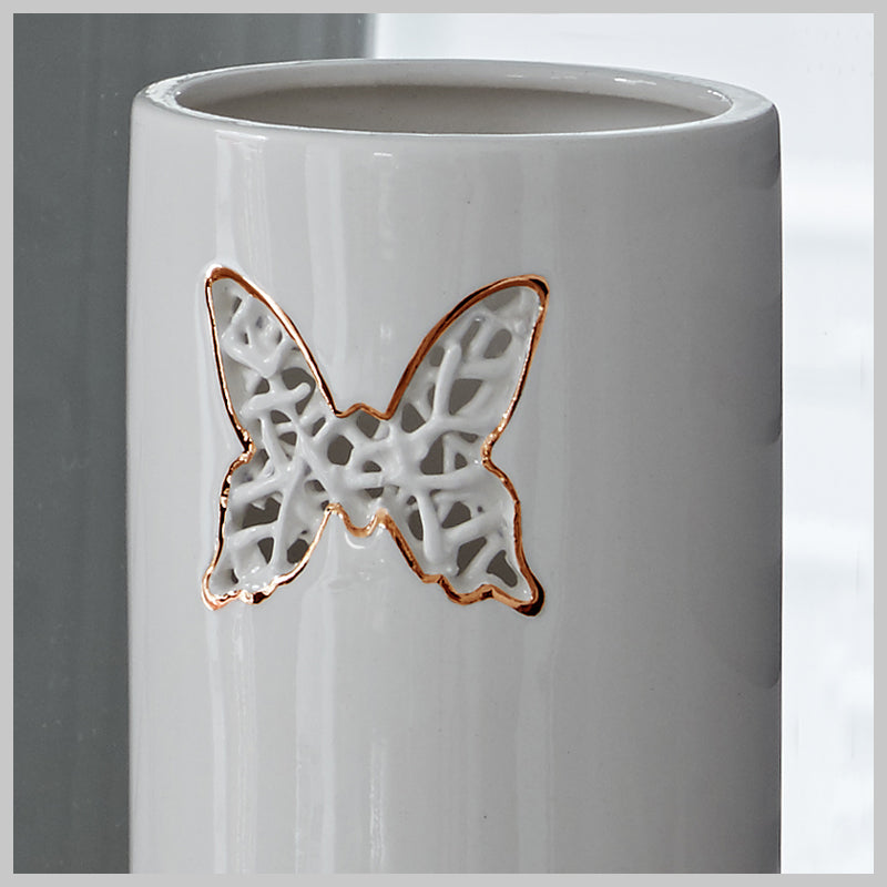 Tangled Butterfly Motif Vase with lustre detailing