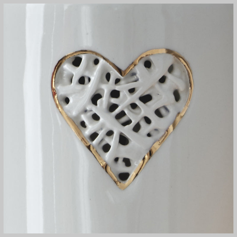 Tangled Heart Motif Vase with lustre detailing