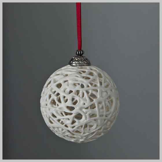Tangled Web Bauble with Red Ribbon