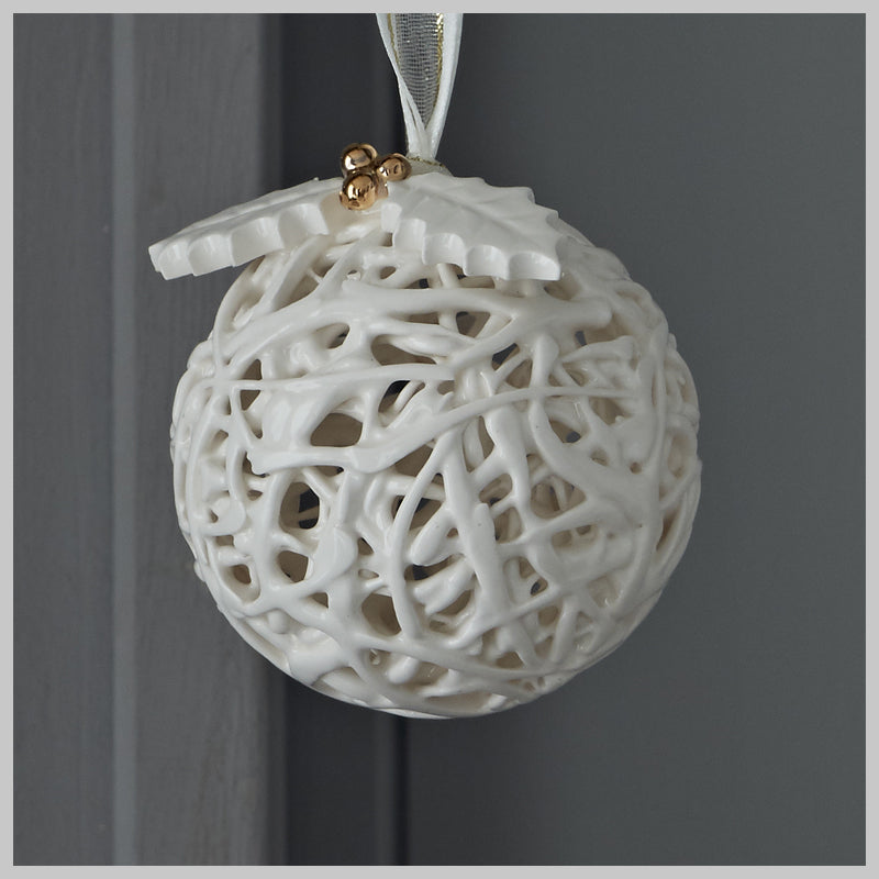 Tangled Web Bauble with Holly leaves and golden berries
