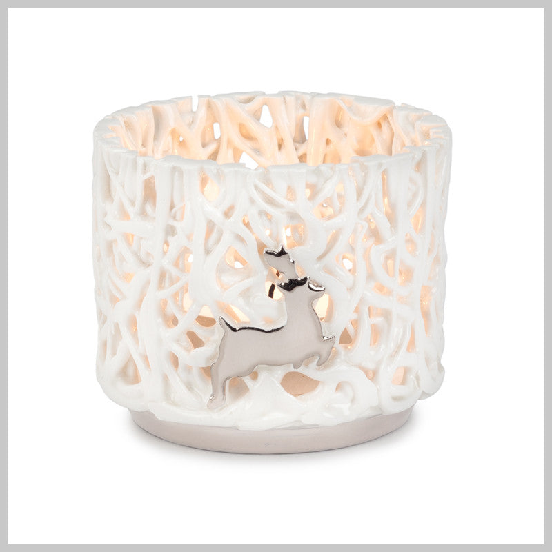 Tangled Web Small Tea Light holder with Platinum Reindeer