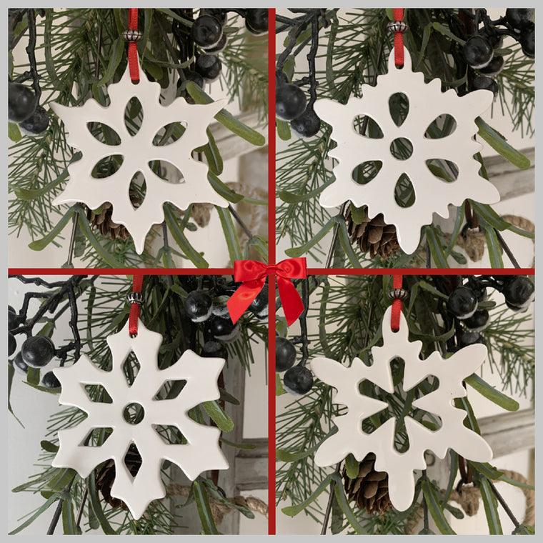 Set of 4 Ceramic Snow Crystal Hanging Decorations