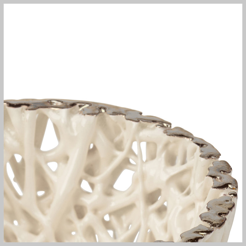 Tangled Web Medium Decorative Bowl with Platinum Lustre Detailing