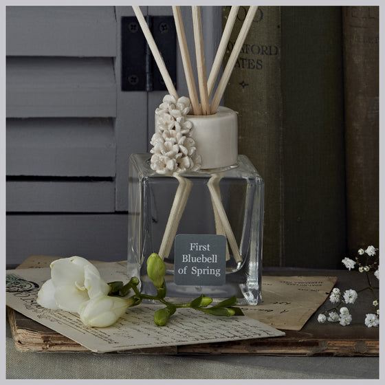 First Bluebell of Spring Reed Diffuser featuring 'Tiny flower cluster' Ceramic Collar