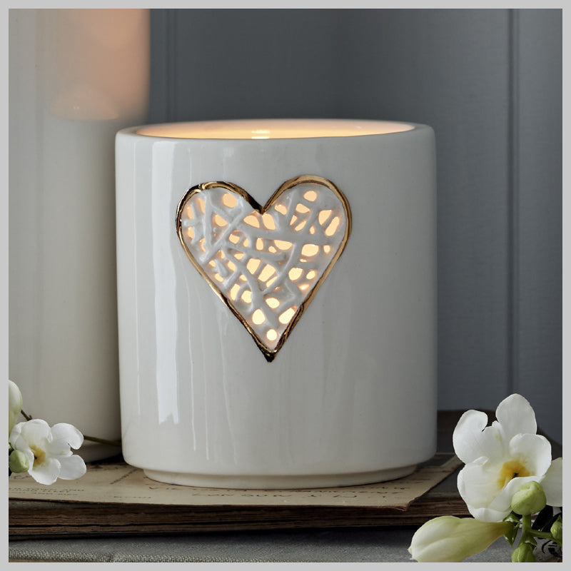 Tangled Heart Motif Tea Light Holder with Gold lustre detailing