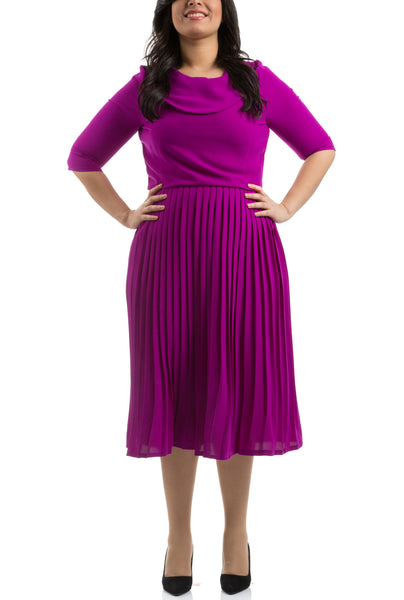 Accordion Pleated Dress - Purple