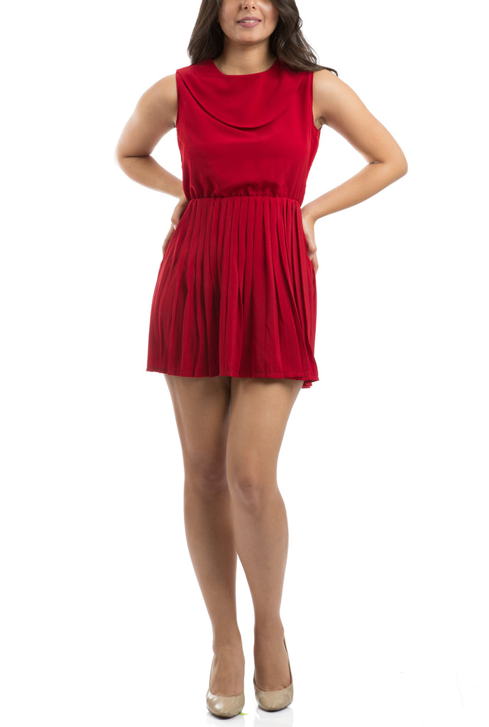 Accordion Pleated Dress - Red