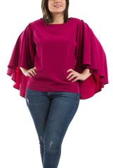 Butterfly Sleeves Blouse - Fuchsia