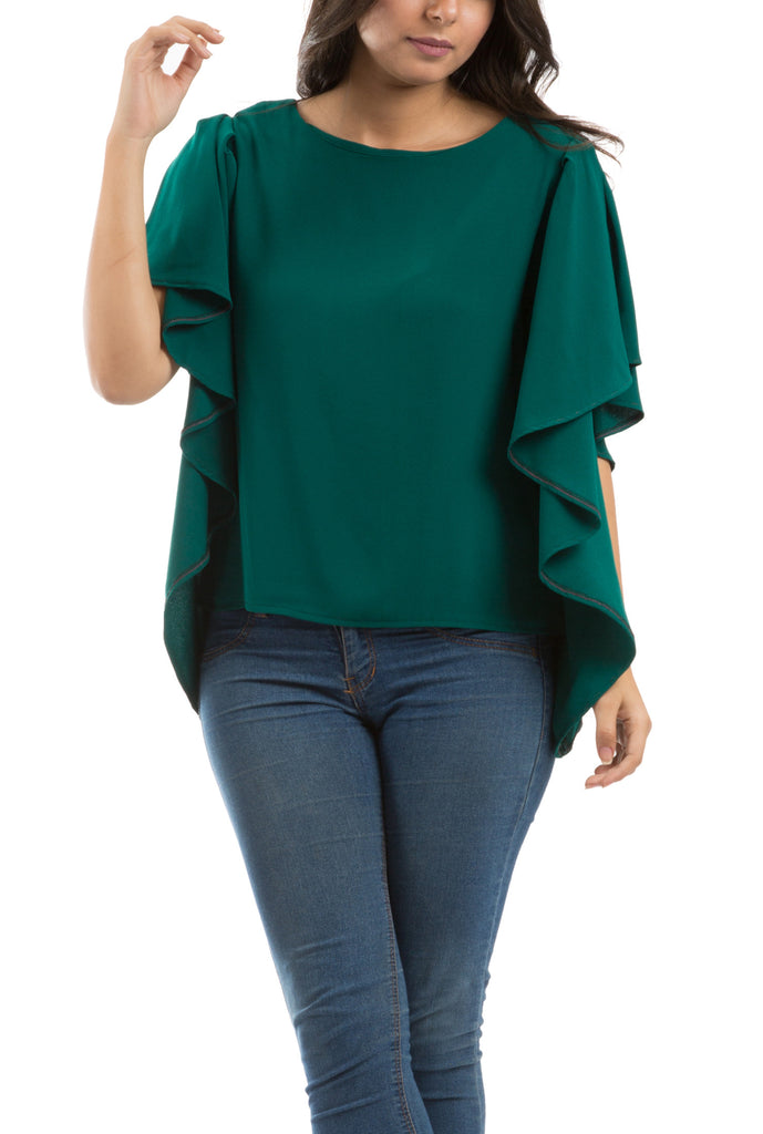 Butterfly Sleeves Blouse - Green