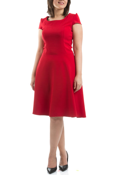 Flared Knee Length Dress - Red