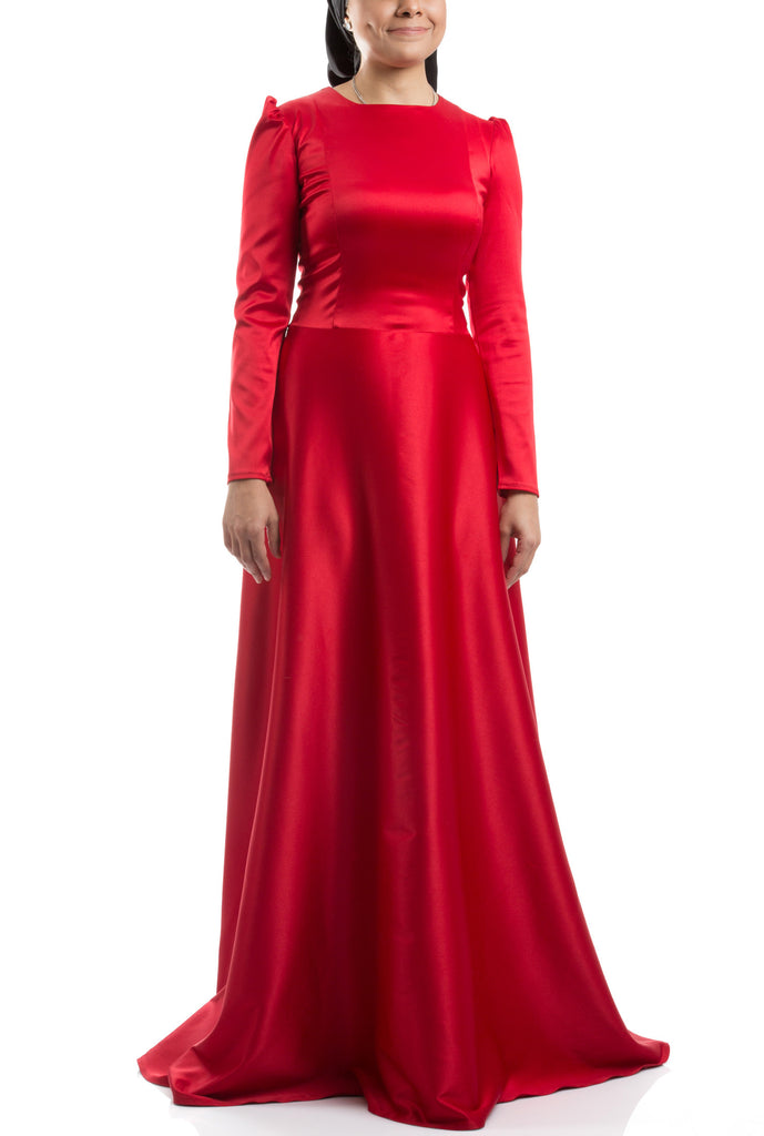 Flared Long Dress - Red