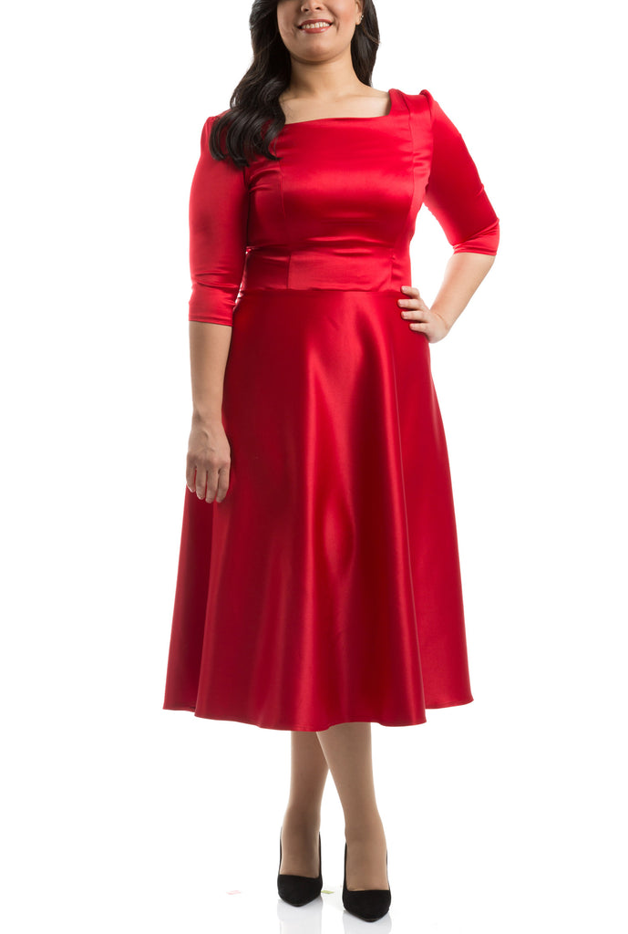 Flared Mid Calf Dress - Red