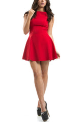 Flared Mini Dress - Red