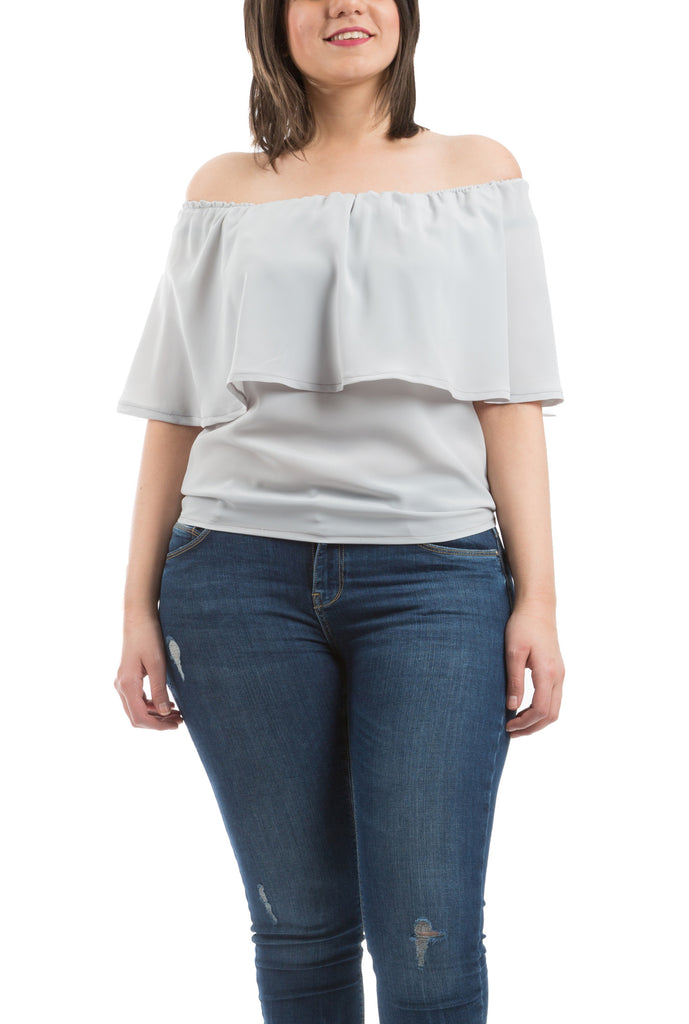 Ruffled Sleeves Blouse - Grey