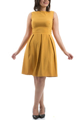 The Royal Pleated Dress - Mustard
