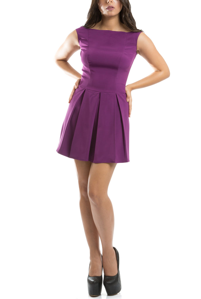 The Royal Pleated Dress - Purple