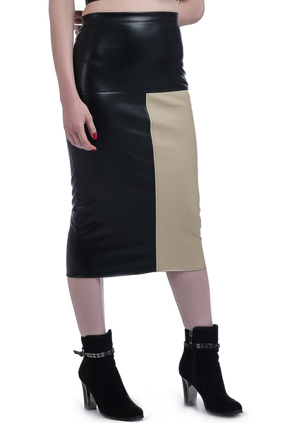 2 Halves Colored Leather Skirt