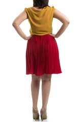 Accordion Pleated Dress - Red & Mustard