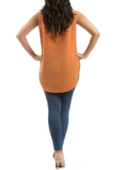 Box Pleat Blouse - Orange