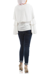 Ruffled Sleeves Blouse - White