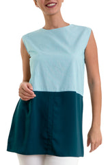 Buttonless Chemise -Sleeveless- Blue