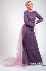 Mermaid Embroidered Tulle Dress -Purple