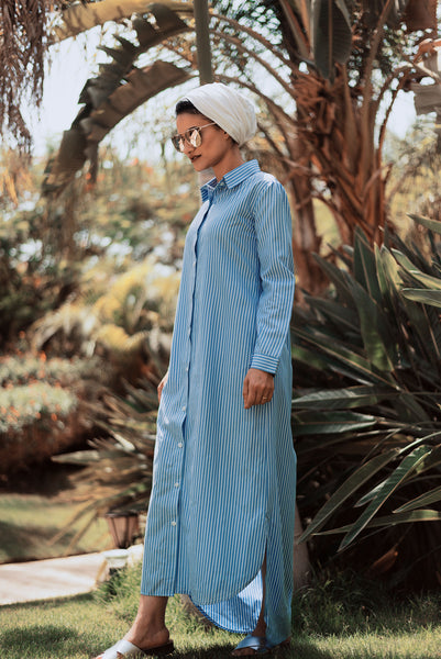 Stripes Every-Day Shirt Dress - Baby Blue