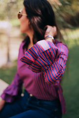 The Ruffled Sleeve Blouse - Blue
