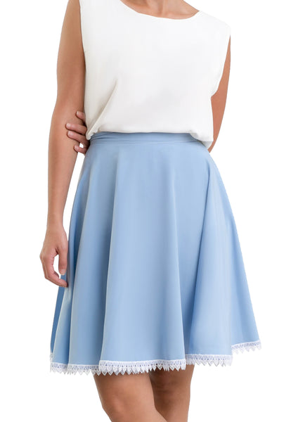 The Mini-Semi circular Skirt - Baby Blue