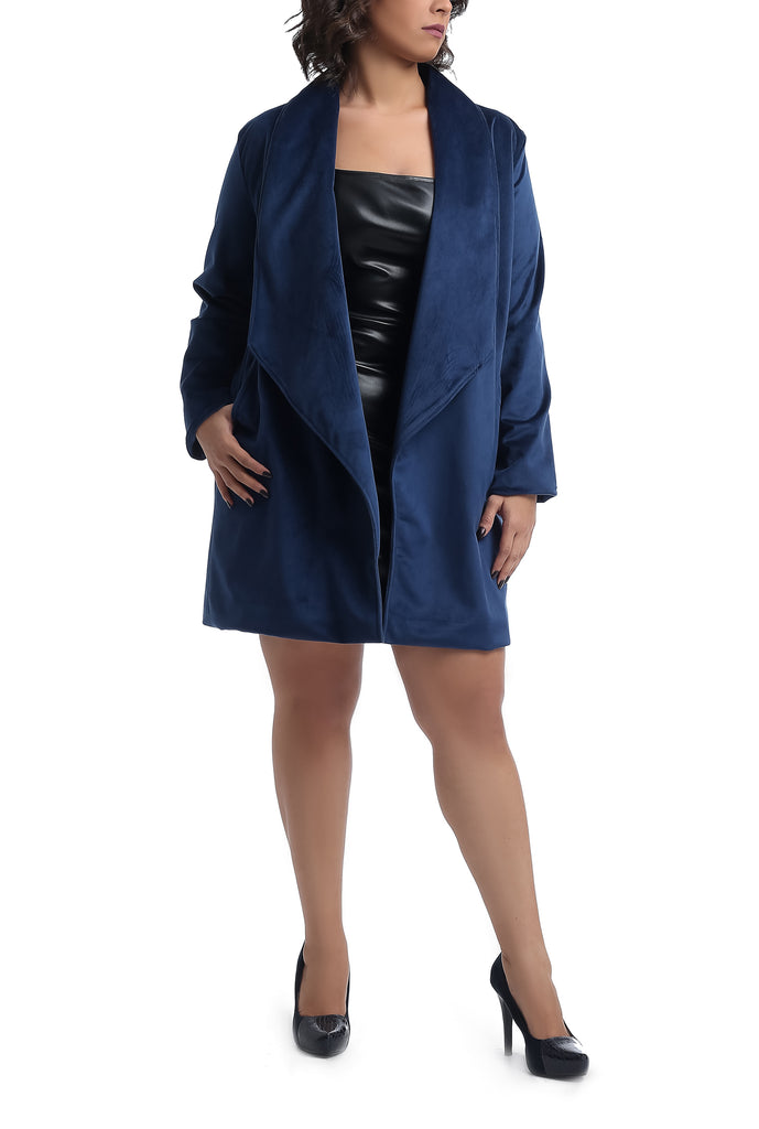 Knee Length Suede Trench Coat - Dark Blue