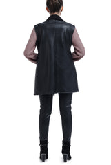 Leather Drapped Vest - Black