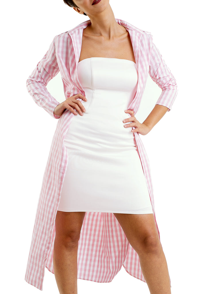 Buttonless Long Chemise - Pink