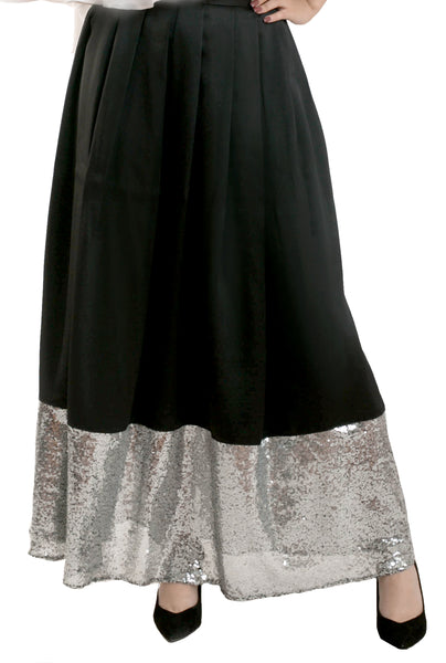 Long Sequin Trim Skirt - Black