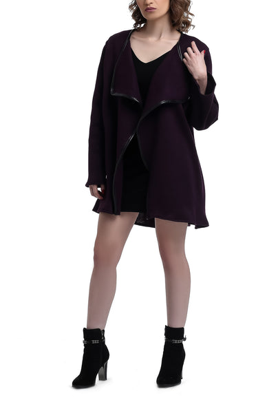 Long Sleeves Wool Draped Vest - Purple