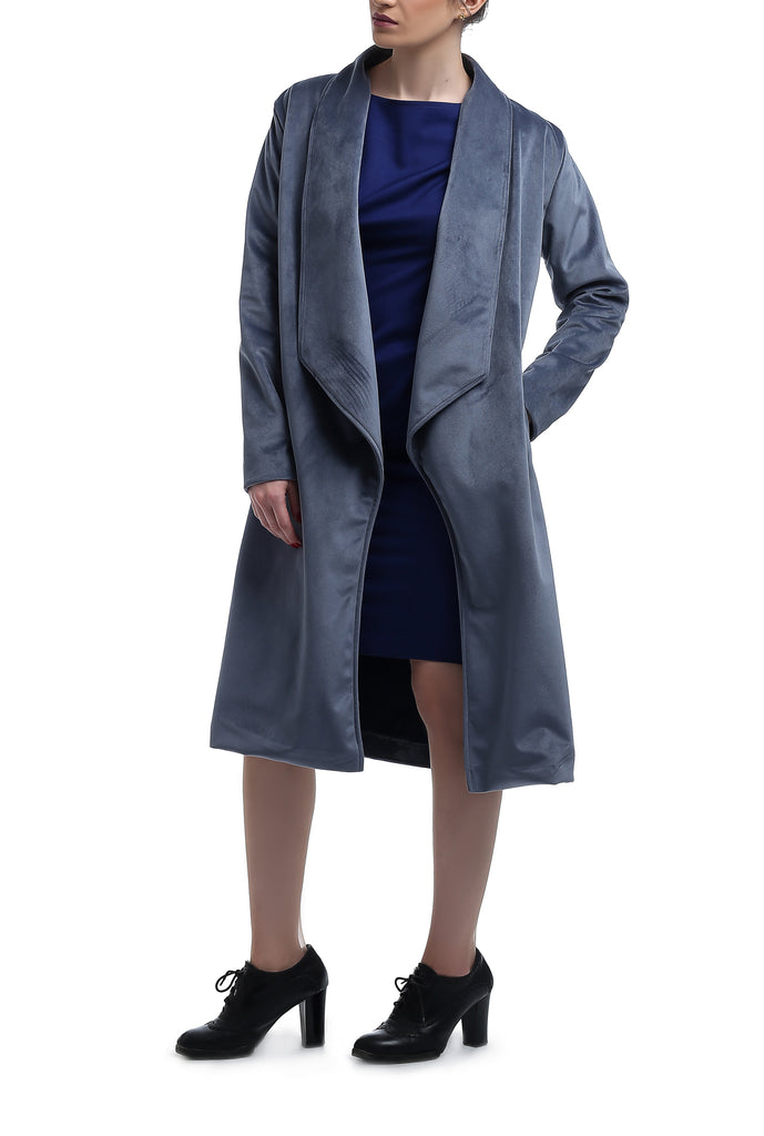 Long Suede Trench Coat - Light Blue