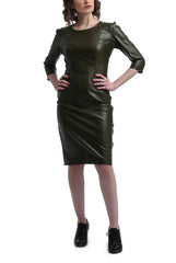 Mid Calf Leather Dress - Army Green