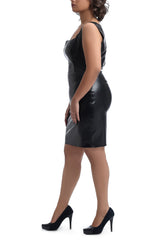 Mid Calf Leather Dress - Black