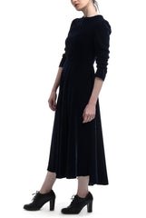 Mid Calf Velvet Dress - Deep Blue