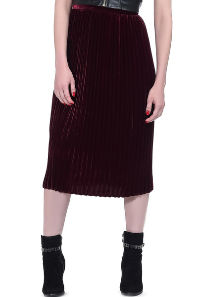 Mid Calf Velvet Pleated Skirt - Maroon