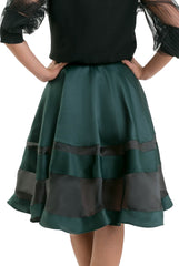 Stripe Organza Skirt - Dark Green