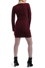 Patterned Velvet Dress - Maroon