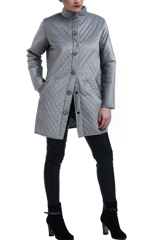 Quilted Suede Jacket - Silver